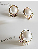 Women's New Stylish Simple Bow Pearl Earrings