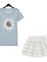 Women's Floral Blue T-shirt , Round Neck Short Sleeve Flower
