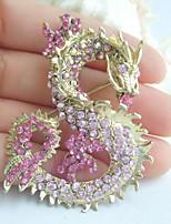 Women Accessories Gold-tone Pink Rhinestone Crystal Dragon Brooch Art Deco Crystal Brooch Pin