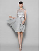 Homecoming Knee-length Chiffon/Lace Bridesmaid Dress - Gray A-line Bateau