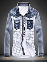 Men's Fashion Plaid Spell Washed Long Sleeved Denim Shirt