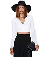 Women's White Shirt , Deep V Long Sleeve