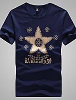 Men's Round Casual Fashion Star Printing Short Sleeve T-Shirts (Cotton/Elastic/Lycra)
