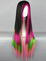 The New Wig Anime Characters Black Color Multicolor Mixed Long Straight Hair Wigs