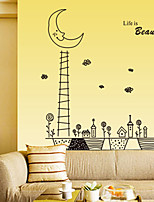Wall Stickers Wall Decals Style Moon Iron Tower PVC Wall Stickers