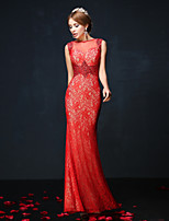 Formal Evening Dress - Ruby Trumpet/Mermaid Jewel Ankle-length Lace/Charmeuse