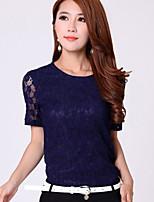 BIAOSHANG®Women's Casual Lace Micro-elastic Short Sleeve Regular T-shirt (Chiffon/Lace)