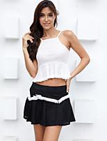 Women's Sexy Lace Cute Plus Sizes Micro Elastic Sleeveless Short Shirt (Lace/Cotton Blends)