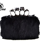 INONE™ Women's 100% Real Cony Hair Fur Clutches Wedding Special Occasion Clutch Skull Ring Evening Bag