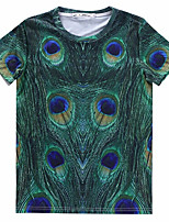 European Style TEE Digital Printing 3D T-shirt Peacock Feathers Harajuku Sleeved T-shirt