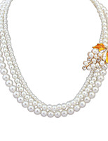 Women's European Style Elegant Grape Leaf Pearl Necklace