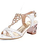 Women's Shoes Chunky Heel Heels / Peep Toe Sandals Casual Green / Pink / White