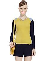 GOELIA Women's Casual Micro-elastic Opaque Long Sleeve Pullover (Wool/Acrylic)