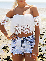 Women's Lace White T-shirt , Strapless Short Sleeve Lace