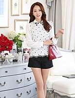 Women's Print White Shirt , Shirt Collar Long Sleeve