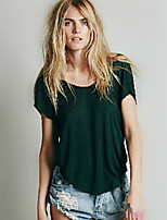 Women's Solid White/Green/Yellow/Gray T-shirt , Casual Round Neck Short Sleeve Backless