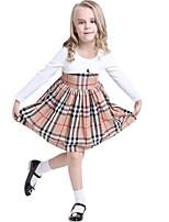 Baby Kids Girls Spring Autumn Long Sleeved Plaid Party Mini Princess Dress (Cotton Blend)