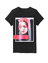 Women's Casual/Work Micro-elastic Short Sleeve Man'S Head Printing T-shirt (Others)