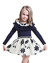 Spring Fall Baby Kids Girls Flouncing Collar Bow Hook Flower Hem Party Dress (Cotton)