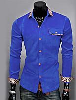 Men's Long Sleeve Shirt , Cotton/Organic Cotton Casual Print
