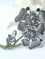 Women Accessories Black Gray Rhinestone Crystal Butterfly Flower Brooch Art Deco Crystal Brooch