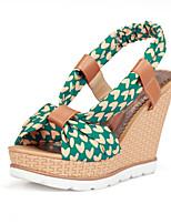 Women's Shoes Fabric Wedge Heel Wedges/Slingback Sandals Dress Blue/Green/Navy