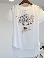 Women's Print White/Gray T-shirt , Round Neck Short Sleeve Sequins/Embroidery