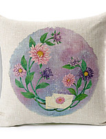 Country Flowers Patterned Cotton/Linen Decorative Pillow Cover