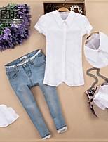 Overhemdkraag - Polyester - Met ruches - Vrouwen - Overhemd - Korte mouw