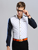 Men's Short Sleeve Shirt , Cotton Casual/Plus Sizes Print