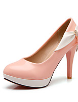 Women's Summer / Fall Heels / Round Toe Patent Leather Office & Career / Casual Stiletto Heel Bowknot / Sparkling GlitterGreen / Pink /
