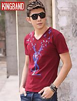 Men's Casual/Sport Print Short Sleeve Regular T-Shirts (Cotton Blends) KB6A21