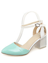 Women's Shoes Patent Leather Chunky Heel Pointed Toe Pumps/Heels Dress Blue/Green