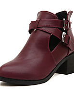 Women's Shoes Patent Leather Chunky Heel Bootie Boots Outdoor/Casual Black/Burgundy