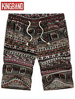 Men's Casual/Plus Sizes Print Shorts Pants (Linen)KB6B03