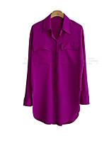 Women's Solid Black/Purple Shirt , Sexy/Casual Shirt Collar Long Sleeve