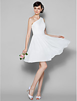 Knee-length Georgette Bridesmaid Dress - Ivory Plus Sizes / Petite A-line One Shoulder