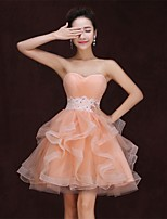 Cocktail Party Dress - Pearl Pink Plus Sizes A-line Strapless Knee-length Satin