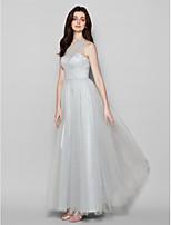 Floor-length Chiffon Bridesmaid Dress - Gray Sheath/Column One Shoulder