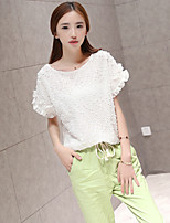 Women's White T-shirt , Round Neck Short Sleeve Bow