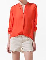 Women's Solid Blue/Orange Shirt , V Neck Long Sleeve Rivet/Ruched