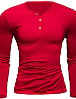 Men's Casual Pure Long Sleeve Regular T-Shirt