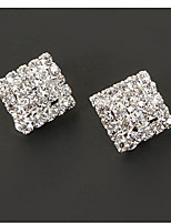 Vintage Square Shape Diamanted Clip Earring(1 Pair)