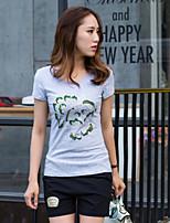 Women's Casual Print Micro-elastic Short Sleeve Regular T-shirt (Cotton)