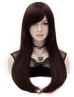 Europe And The United States Wind Dark Brown Inclined Bang Adduction Long Straight Hair Wig