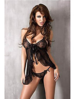 Women Sexy Mesh Ultra Nightwear Black