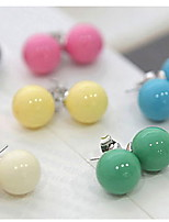 Candy Color QQ Ball Stud Earrings(Random Color)