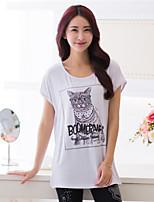 Women's Print Plus Sizes Micro-elastic Short Sleeve Regular T-shirt (Cotton)