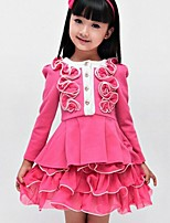 Girl's Fashion Micro Elastic Long Sleeve Dresses (Cotton Blends/Lace)