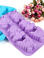 animales en forma de molde de silicona moldes de cocción de hielo / chocolate / tarta (color al azar)